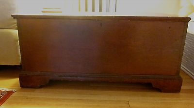 Antique American Pine wood blanket chest trunk, primitive country 1800-1899