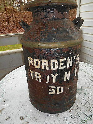 Vintage - Borden TROY NY 50  Milk Can with Lid ( See Photos)