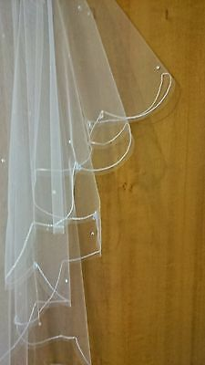 Wedding Bridal Veil IVORY. Made with Genuine Swarovski Crystals. Made in England