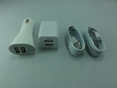 AC Home Wall + Car Charger +2 x 8 Pin USB Cable for iPhone5 5S 5C & iPod Nano 7