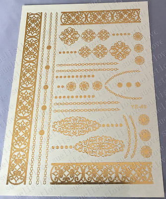 new Temporary Metallic Tattoo Gold Silver Black Flash Tattoos Flash Inspired 1pc