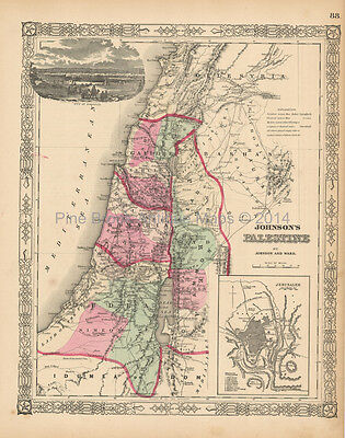 Israel Palestine Antique Map Johnson 1863 Original
