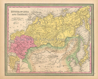 Russia Tartary Antique Map Mitchell 1846 Original