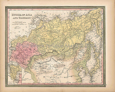 Antique Map Russia Tartary Asia Tanner 1845 Original