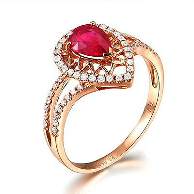 Solid 14K Rose Gold Genuine 1.28ct Blood Ruby Engagement Natural Diamond Ring