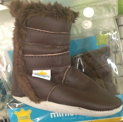 New Bobux Ministar Brown Genuine Leather Boots Baby Infant S 0 6 Month Fur Lined