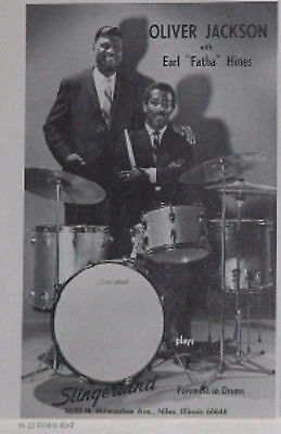1966 Oliver Jackson and Earl Hines Slingerland drums photo print Ad