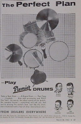 1963 Premier drums-the perfect plan vintage print Ad