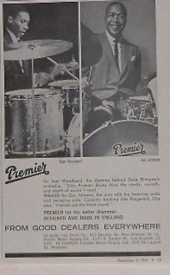 1963 Sam Woodyard,Gus Johnson Premier drums print Ad
