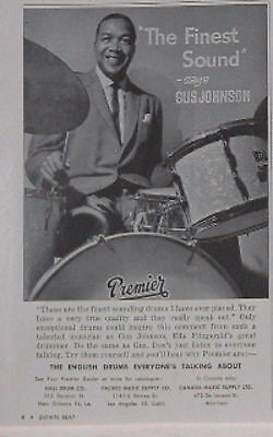 1960 Gus Johnson says Premier has finest sound print Ad