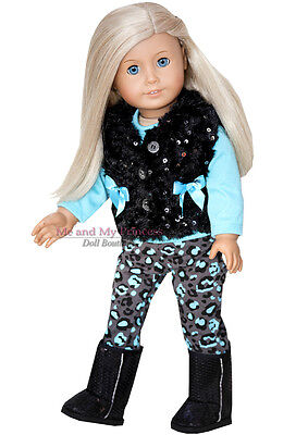 VEST + LEOPARD PANTS + BOOTS + TOP Outfit clothes fits American Girl Doll Only