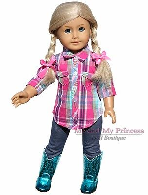 PLAID SHIRT + LEGGINGS + TEAL WESTERN BOOTS clothes fits American Girl Doll only