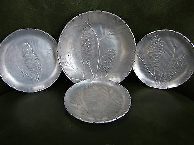 Wendell August Forge Hammered Aluminum Pinecone Coasters Set FOUR PIECES