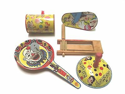 Vintage Tin and Wood Noise Makers Party Supplies Novelty New Years Eve