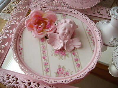 VINTAGE SHABBY COTTAGE CHIC LACY FILIGREE TRAY~ASHWELL  ROSES FABRIC TOO!!