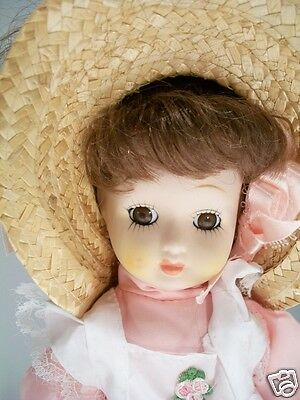 """Victorian Porcelain Doll in Box Pink and White Clothing 13"""" tall Pre Owned"""