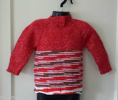 Toddler Girl Red Cozy Handmade Sweater. Size 2T, 24M. Free Shipping!