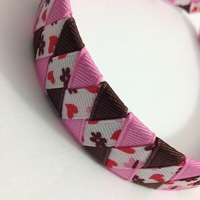 "Pink & Brown Butterfly Hearts 1"" Braided - Ribbon Woven Headband -Handmade"