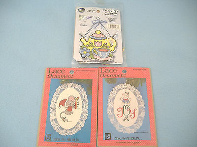COUNTED CROSS STITCH & NEEDLPOINT KITS-CHRISTMAS LACE ORNAMENTS-COFFEE-SET OF 3