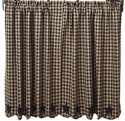 Country Black Star Dark Tan Check Lined Curtain Tiers 72x24 Check Size 1/2 in