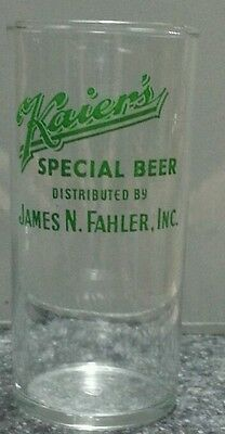 Kaier glass Mahanoy City Pa Kaiers Beer green Fahler