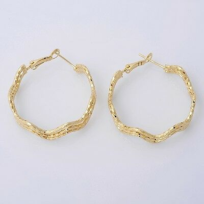 Gorgeous 14K Solid Yellow Gold Filled Hoop Style Womens Jewelry Earrings E014