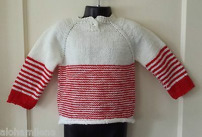 New Toddler Girl's White/Red Cute Handmade Sweater. Size 2T, 24M, Free Shipping!