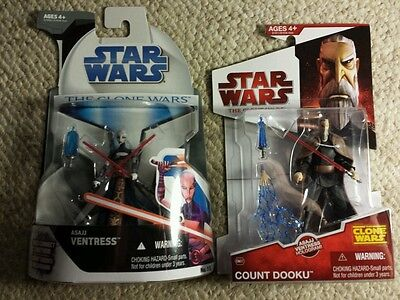 STAR WARS THE CLONE WARS ASAJJ VENTRESS COUNT DOOKU FIGURES NEW SEALED ON CARD