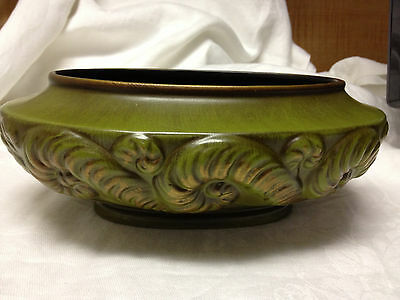 Vintage Haeger Pottery Dish Olive Green with Gold Accents #3047