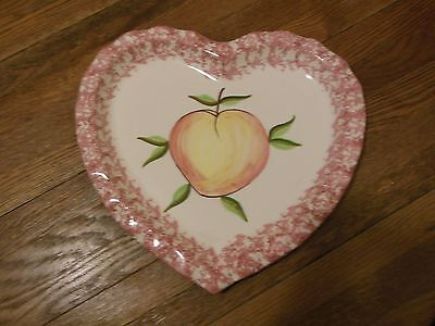 READING CHINA Made in Portugal Hand Painted Heart Shaped Platter Fruit Peach