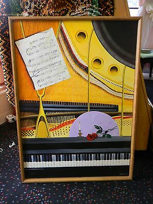 Local Artist Oil Painting 1980's Original Piano and Music Sheet Art Deco Signed