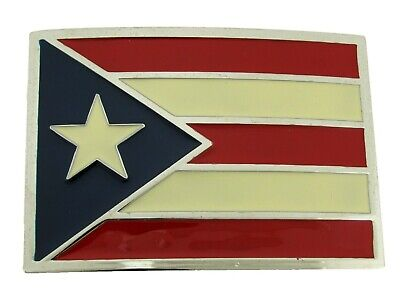 Puerto Rico United States Flag Belt Buckle Western Cowboy Rodeo Gold Silver New