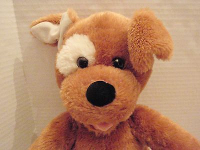 Build A Bear Cute Brown Dog with White Patch on Right Eye 15 inch Stuffed Plush