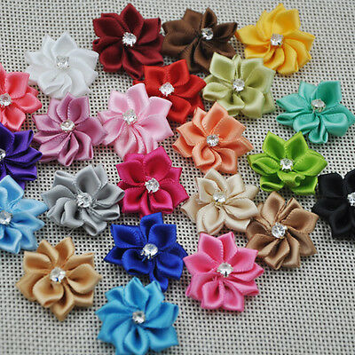 W/stone satin ribbon flowers sewingappliques craft DIY wedding Lots A014