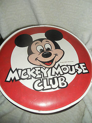 Vintage Mickey Mouse Club Footstool Vinyl & Wood STOOL    Disney Mickey mouse