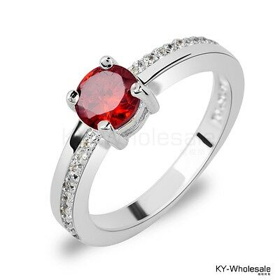 Size 8 Nice designs Real Platinum Plated Sexy Red C.Z Women Lady Rings W0304