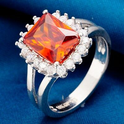 Size 8 Real Platinum Plated Party Queen Sexy Red C.Z Women Lady Rings W0281