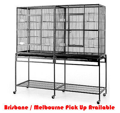 Top Quality Twin Dual Double Large Pet Bird Cage Parrot Cockatoo Aviary On Wheel
