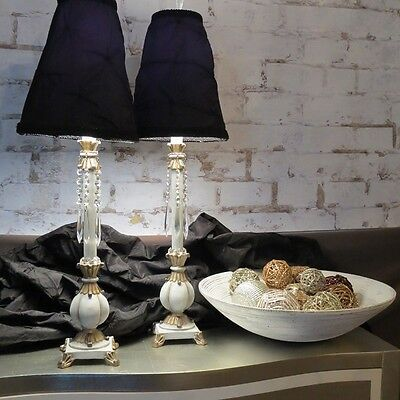 Vintage, Hollywood Regency, French Provincial Side Table Lamps w/ Crystal