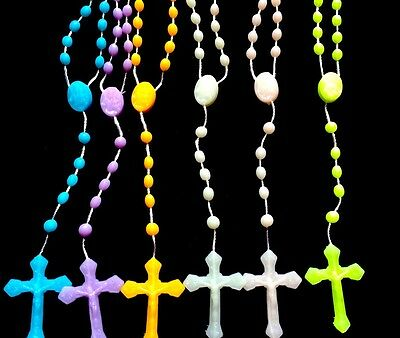 Wholesale Lot -6 Glow In The Dark Rosary necklaces Religious catholic Crucifix.