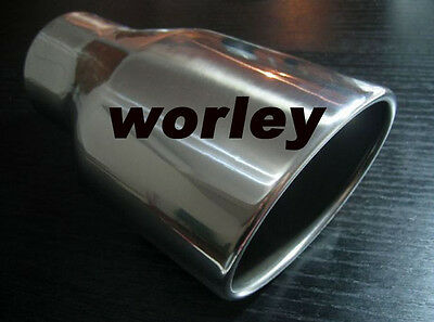 """3"""" inlet Stainless steel oval rolled angle cut Exhaust Muffler Tip 8.3"""" long"""