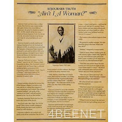 """SOUJOURNER TRUTH """"""""Ain't I A Woman?"""" ABOLISHIONIST SPEECH parchment poster NEW"""