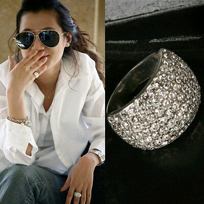 Hot Sell Wide Crystal Rhinestone Stainless Steel Beautiful Charm Ring Size 7