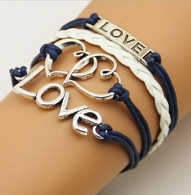 NEW Hot Infinity Love Anchor Leather Cute Charm Bracelet plated Silver DIY XL117