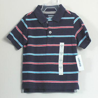 New OLD NAVY Boys Size 2T Dark Blue Striped Short Sleeve T-Shirt