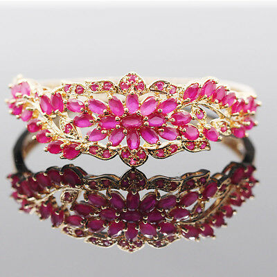 HOT!GENUINE AAA BLOOD RED RUBY OVAL & WHITE CZ STERLING 925 SILVER BANGLE 18K GP