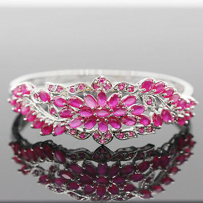 GENUINE AAA BLOOD RED RUBY OVAL & WHITE CZ STERLING 925 SILVER BANGLE 18K GP