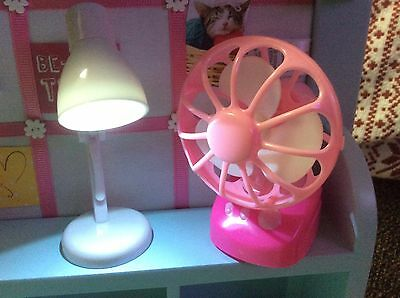 """doll LAMP LIGHT & HOUSE FAN home decor scaled for 18"""" american girl kanani ivy"""