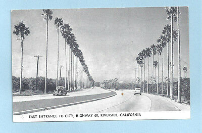 East Entrance to City Riverside California Post Card Highway 60 RPPC  Old Cars