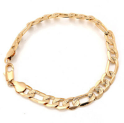 Elegant 18K Solid Yellow Gold Filled GF Bracelet Chain For Man As Gifts B123